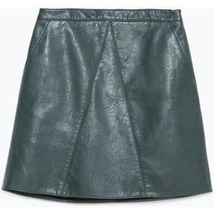 Zara Bottle Green Skirt Small
